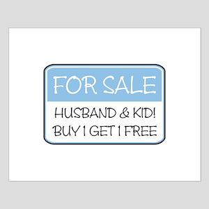 4SALE HUSB/KID (blue) Small Poster