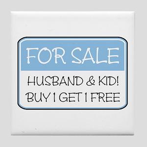 4SALE HUSB/KID (blue) Tile Coaster