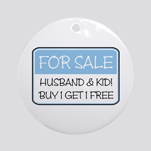 4SALE HUSB/KID (blue) Ornament (Round)