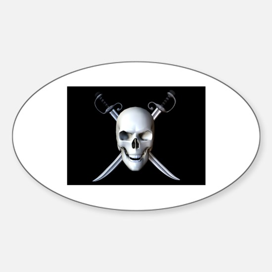 Pirate Skull Flag Oval Decal