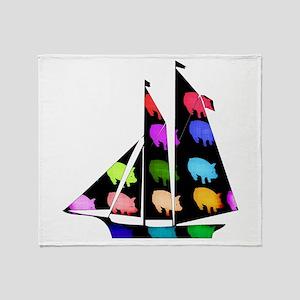 Rainbow Ship Of Pigs Throw Blanket