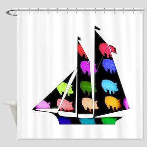 Rainbow Ship Of Pigs Shower Curtain
