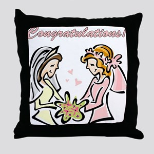Congratulations Gay Wedding D Throw Pillow