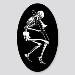 Skeleton Trombonist Oval Sticker