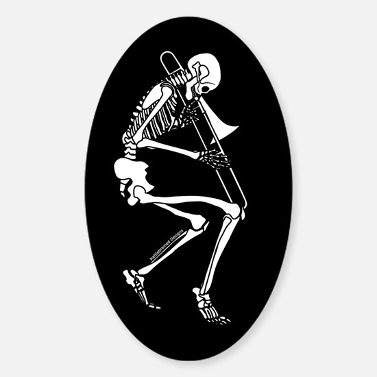 Skeleton Trombonist Oval Decal