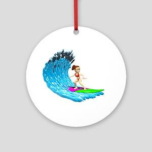 Surfer Girl Ornament (Round)