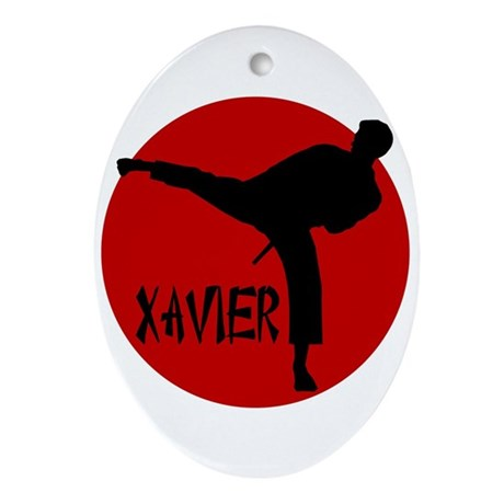 Xavier Karate Oval Ornament