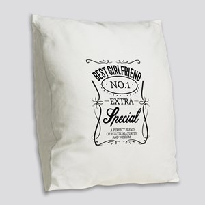 BEST GIRLFRIEND Burlap Throw Pillow