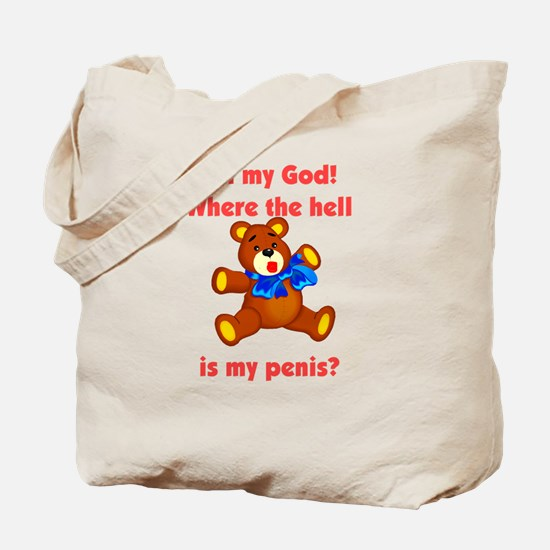 Scared Teddy Bear Tote Bag