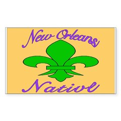 New Orleans Themed Rectangle Decal