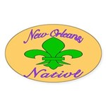 New Orleans Themed Oval Sticker (10 pk)