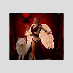 Wondeful fairy with white wolf Throw Blanket