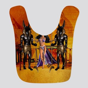 Egyptian women with anubis Polyester Baby Bib