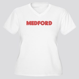 Retro Medford (Red) Women's Plus Size V-Neck T-Shi