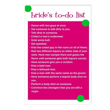 bachelorette party to do list package of 8 by frogkissers