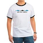 triple shark logo black blue T-Shirt