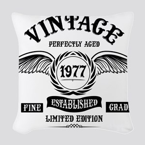 Vintage Perfectly Aged 1977 Woven Throw Pillow
