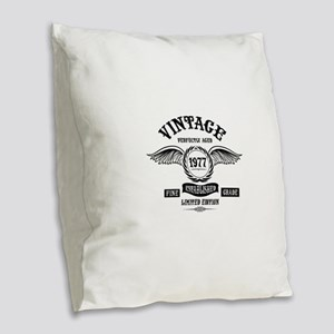 Vintage Perfectly Aged 1977 Burlap Throw Pillow