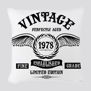 Vintage Perfectly Aged 1978 Woven Throw Pillow