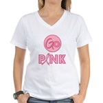 Go Pink Breast Cancer Women's V-Neck T-Shirt