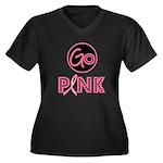 Go Pink Breast Cancer Women's Plus Size V-Neck Dar