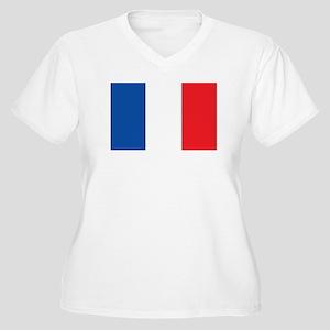 FRANCE Womes Plus-Size V-Neck T-Shirt