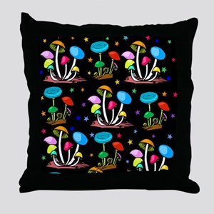 Rainbow Of Mushrooms Throw Pillow