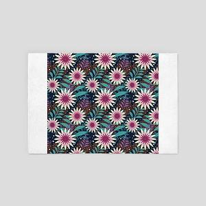 Purple and Aqua Tropical Flowers 4' x 6' Rug