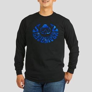 Cave Diver Line Arrow Blue Long Sleeve Dark T-Shir