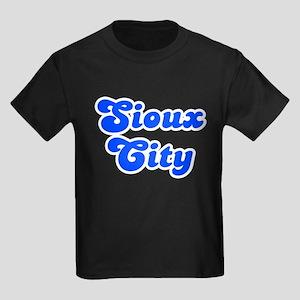 Retro Sioux City (Blue) Kids Dark T-Shirt