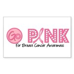 Go Pink Breast Cancer Rectangle Sticker 10 pk)