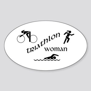 Triathlon Woman Oval Sticker