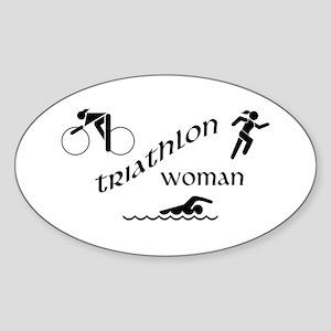 Triathlon Woman Oval Sticker