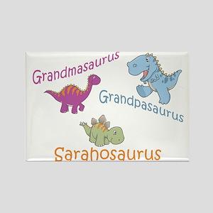 Grandma, Grandpa & Sarahosaur Rectangle Magnet