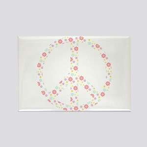 Flowers Peace Sign Rectangle Magnet