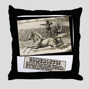 Circus Poster Ring of Fire Throw Pillow