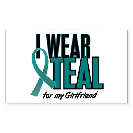 I Wear Teal For My Girlfriend 10 Sticker (Rectangl