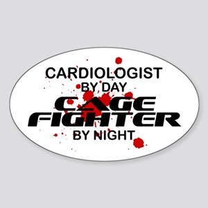 Cardiologist Cage Fighter by Night Oval Sticker