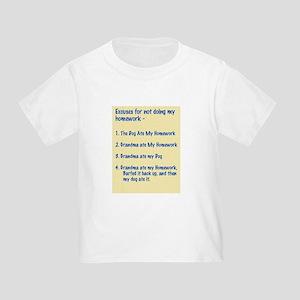 homework excuses #3 Toddler T-Shirt