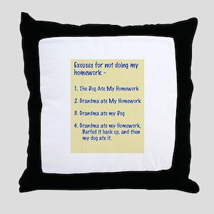 homework excuses #3 Throw Pillow