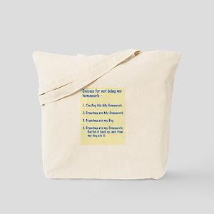homework excuses #3 Tote Bag