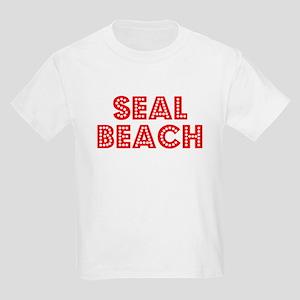 Retro Seal Beach (Red) Kids Light T-Shirt