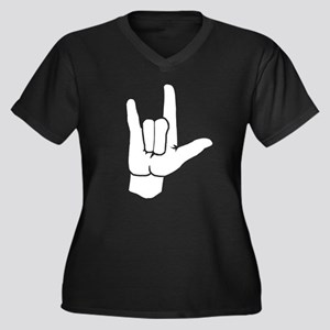 I LOVE YOU (in sign language) Women's Plus Size V-