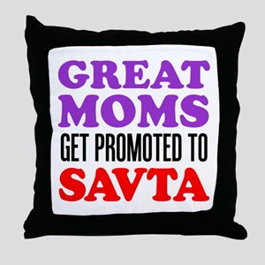 Moms Promoted To Savta Throw Pillow