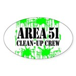 Area 51 Clean-Up Crew Oval Sticker (50 pk)