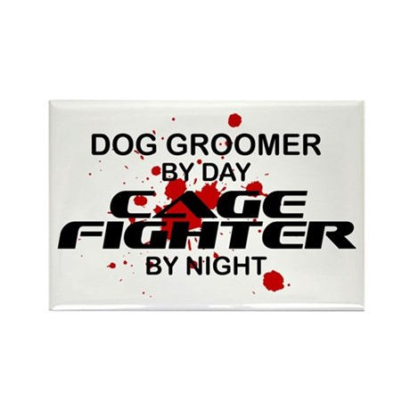Dog Groomer Cage Fighter by Night Rectangle Magnet