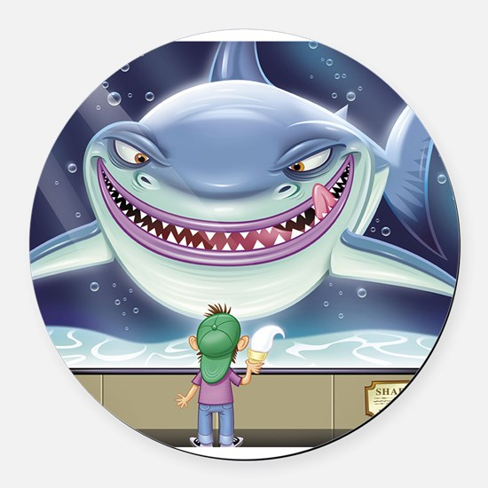 Hungry Shark Round Car Magnet