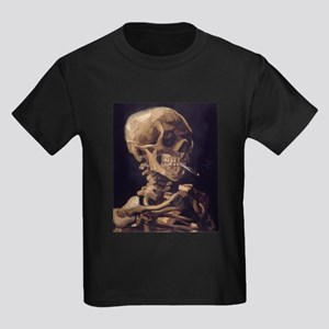 Van Gogh Skull Kids Dark T-Shirt
