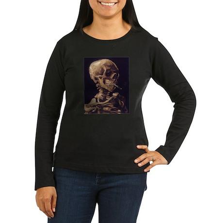 Van Gogh Skull Women's Long Sleeve Dark T-Shirt