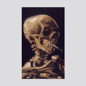 Van Gogh Skull Rectangle Sticker